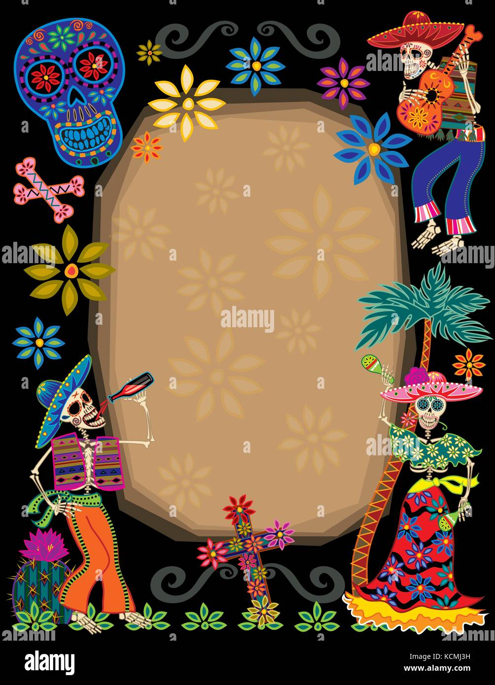 Day Of The Dead Party Border Stock Vector Art Illustration