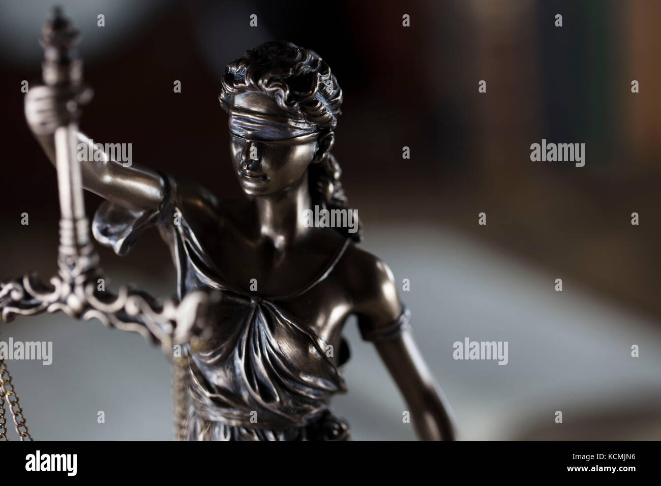 Old court library. Vintage clock. Statue of justice and gavel. Law concept. - Stock Image