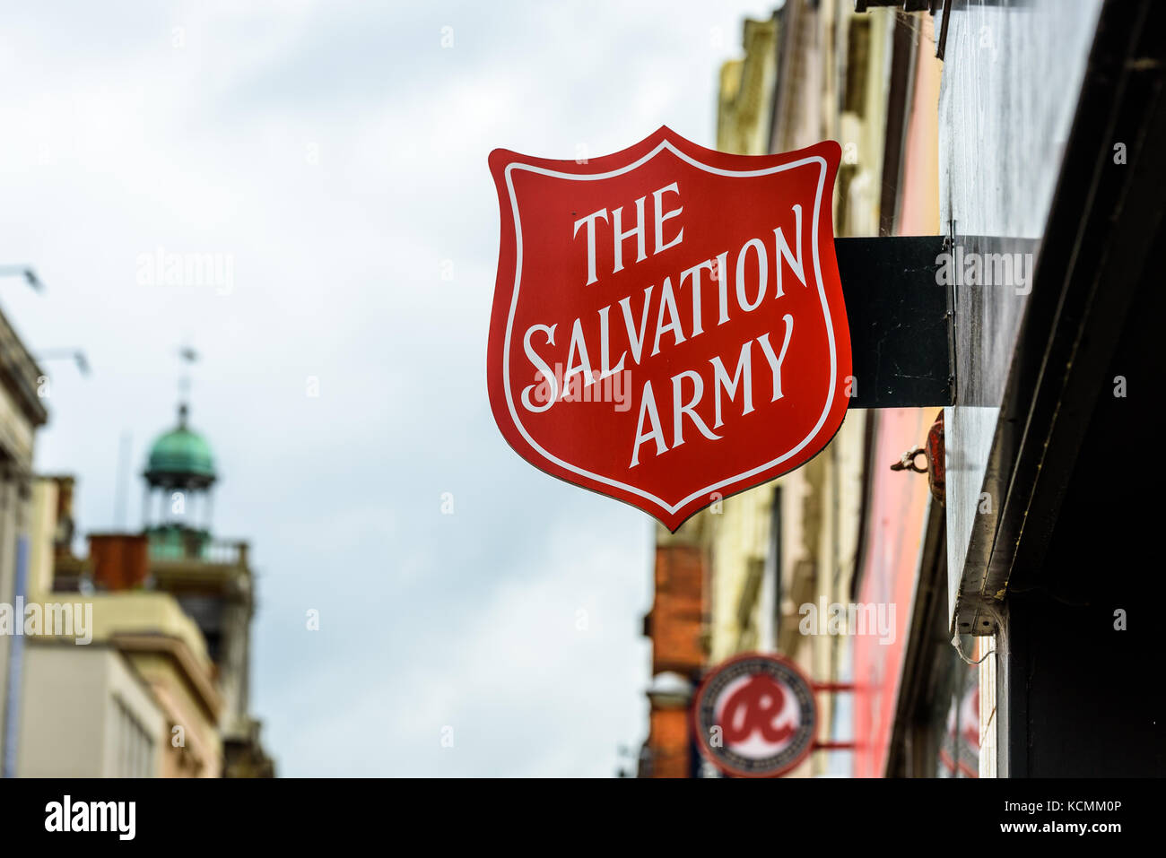 Northampton UK October 5, 2017: The Salvation Army logo sign in Northampton town centre. - Stock Image