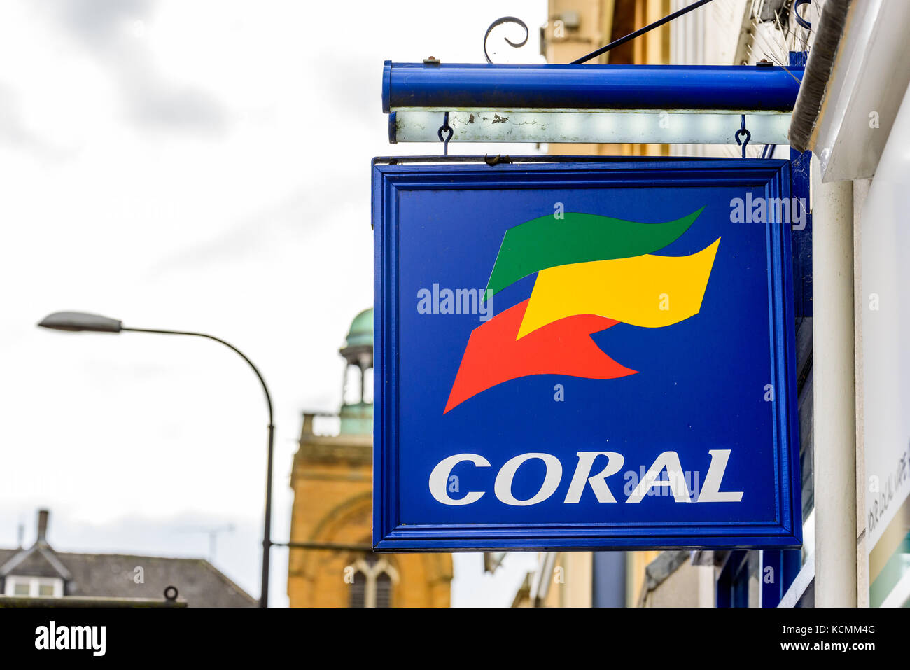 Northampton UK October 5, 2017: Coral betting logo sign in Northampton town centre. - Stock Image