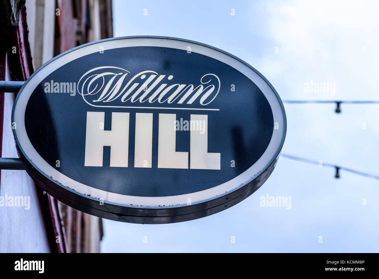 Northampton UK October 5, 2017: William Hill betting logo sign in Northampton town centre. - Stock Image