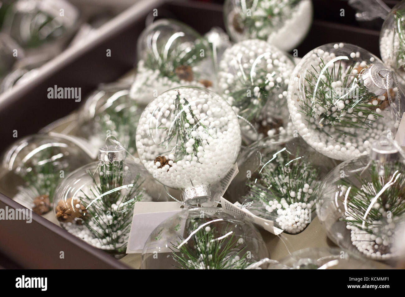 Christmas Tree Decorations Made Of Glass With Fir And Artificial