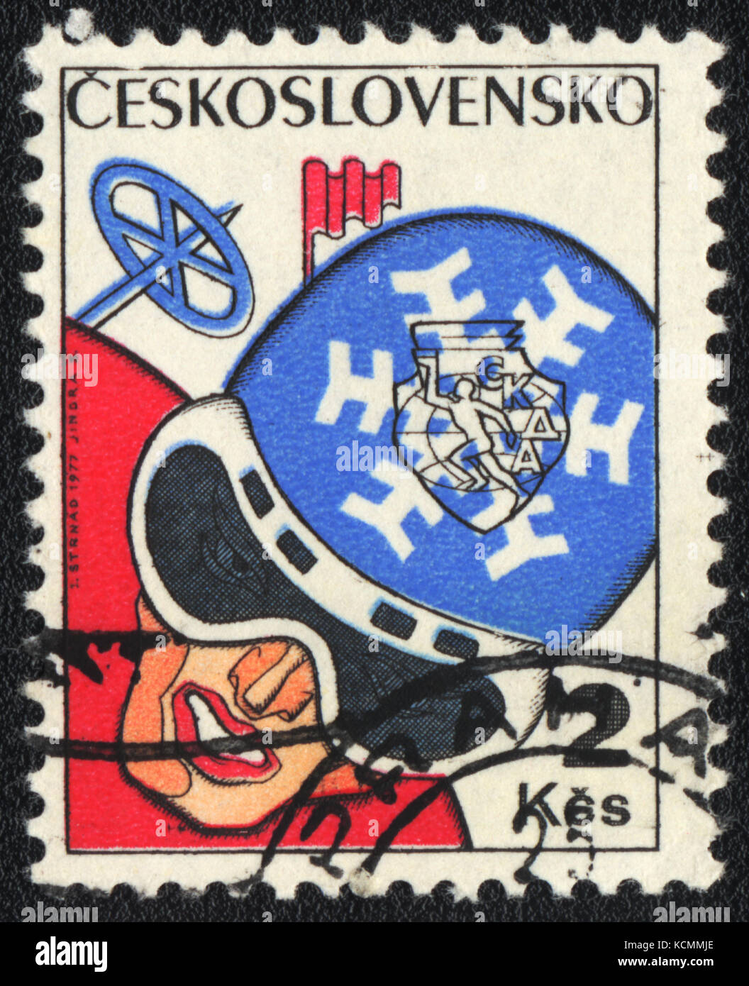 A postage stamp printed in CZECHOSLOVAKIA  shows  Speed skiing , circa 1977 - Stock Image