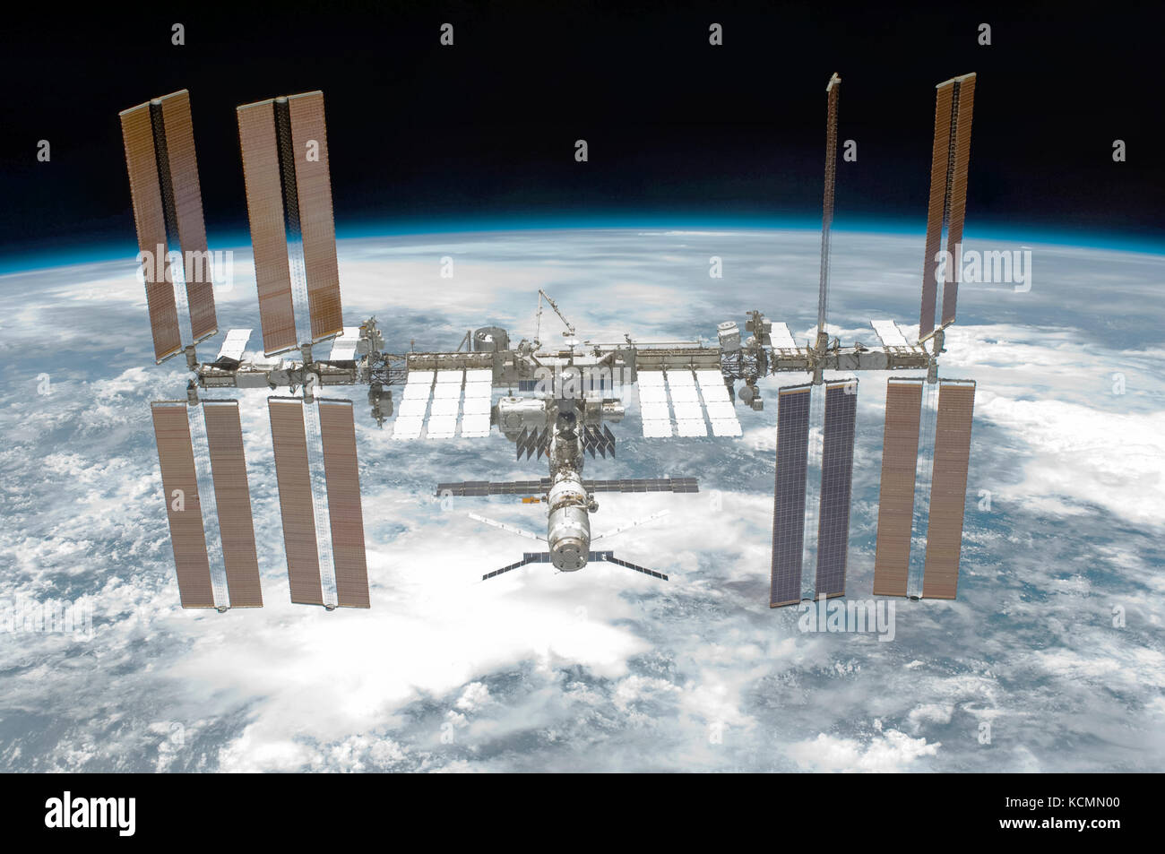 The International Space Station (ISS) photographed by a crew member on the space shuttle Endeavour (STS-134) on - Stock Image