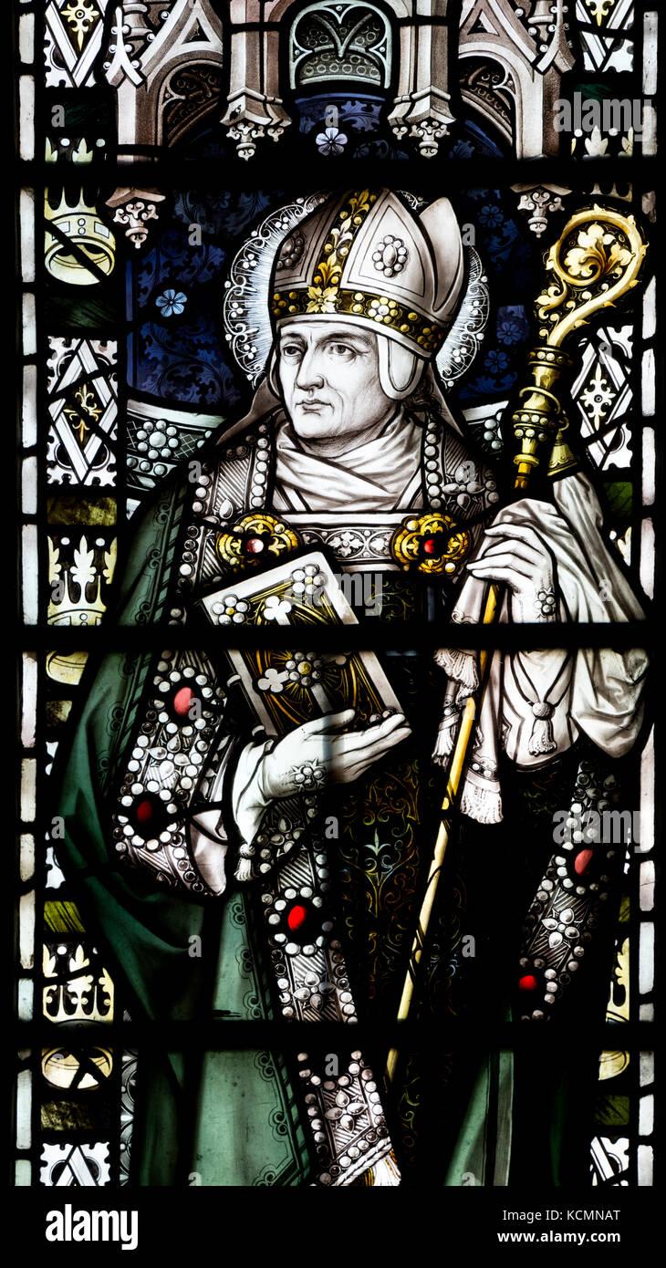 Saint Wilfrid stained glass, St. Wilfrid`s Church, North Muskham, Nottinghamshire, England, UK - Stock Image