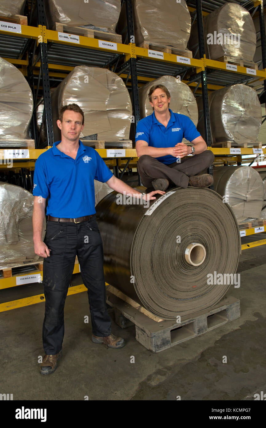 Concrete Canvas Ltd, with CEO's and co-founders Peter Brewin (light hair) and Will Crawford. - Stock Image