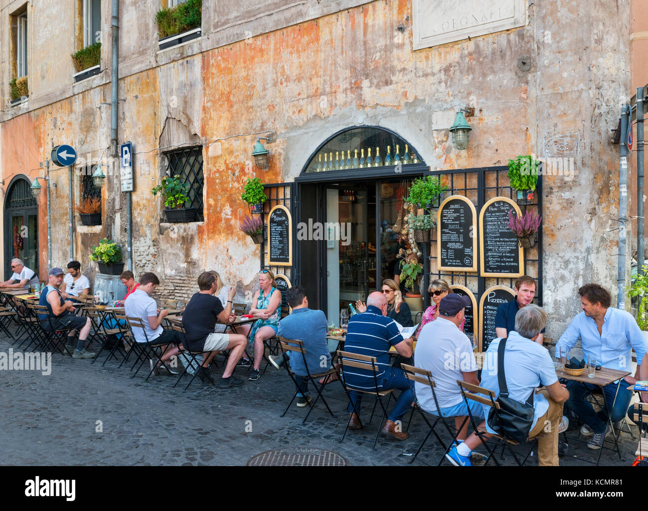 Sidewalk cafe on Piazza dei Coronari in the historic centre, Rome, Italy Stock Photo