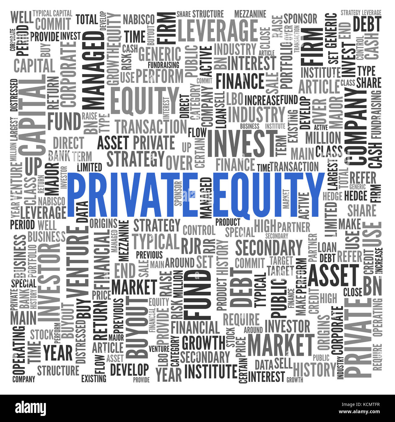Private Equity financial asset concept with a word cloud of associated tags in random orientation in a full frame - Stock Image