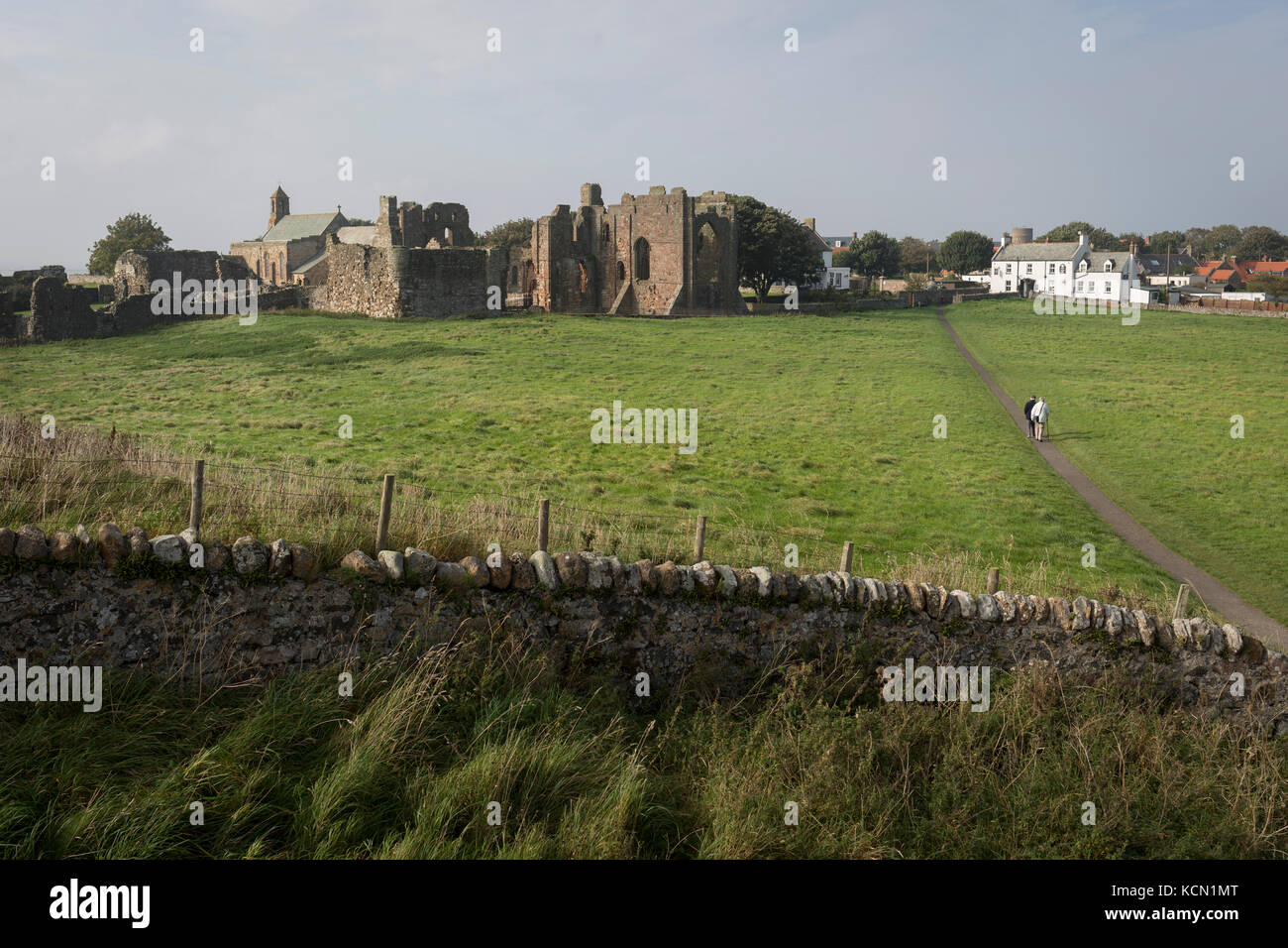 The landscape surrounding the early 12th century Lindisfarne Priory on Holy Island, on 27th September 2017, on Lindisfarne - Stock Image
