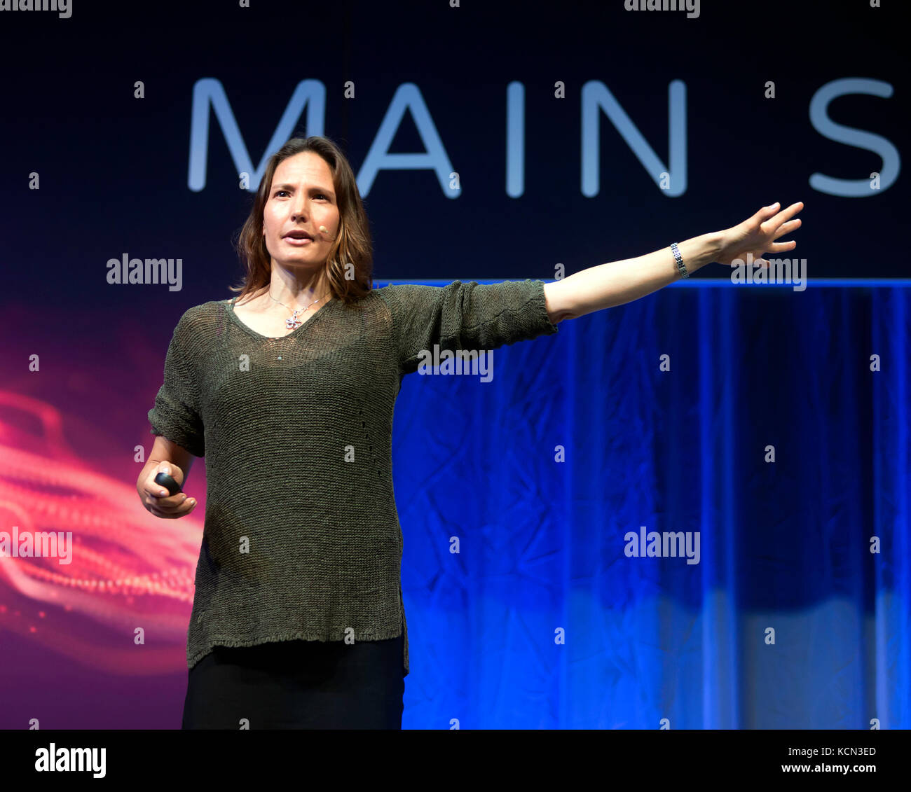 Helen Czerski  participating in Cosmic Shambles Live. a mind-blowing rollercoaster of science, comedy and general - Stock Image