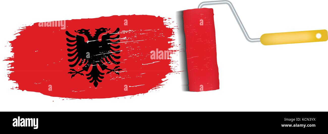 Brush Stroke With Albania National Flag Isolated On A White Background. Vector Illustration. - Stock Vector