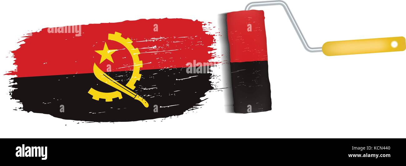 Brush Stroke With Angola National Flag Isolated On A White Background. Vector Illustration. - Stock Vector
