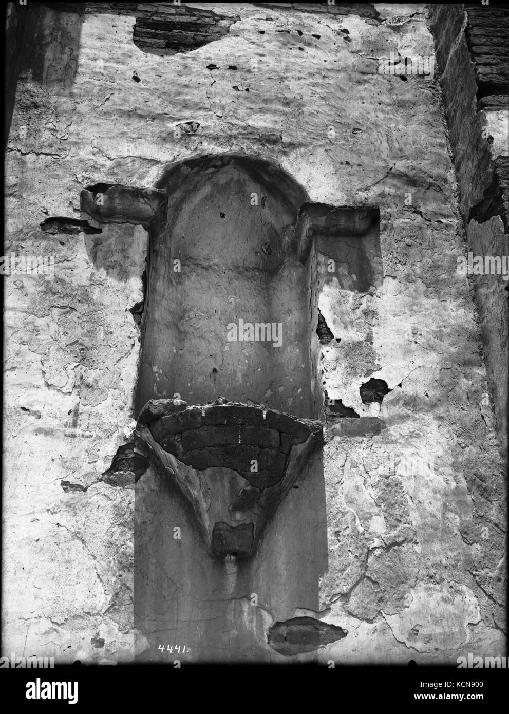 Bevelled brick used for support at Mission San Luis Rey de Francia, California, ca.1905 (CHS 4441) - Stock Image