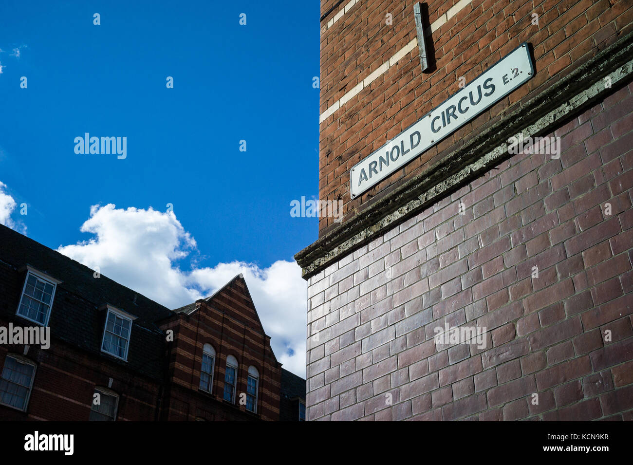Arnold Circus street sign on the Boundary Estate in Shoreditch, East London. Opened in 1900. Built by LCC arguably, - Stock Image