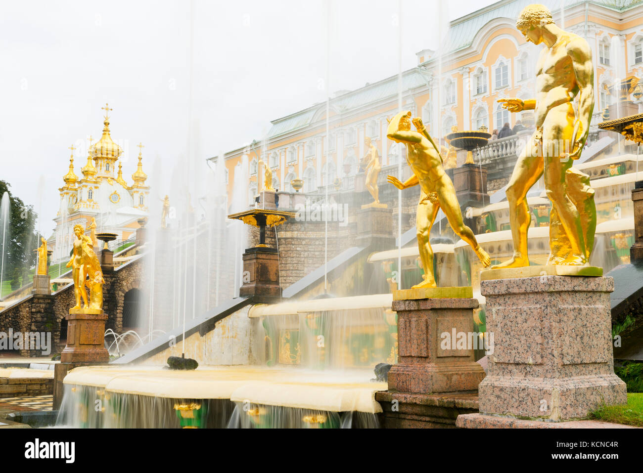The Grand Cascade in front of the Grand Palace, Peterhof, near Saint Petersburg, Russia Stock Photo
