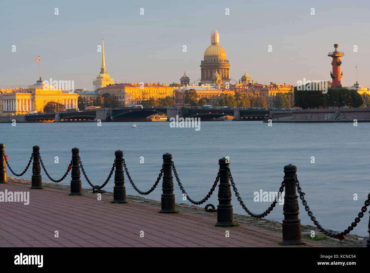 View of the Historic Heart along the Neva River, Saint Petersburg, Russia - Stock Image