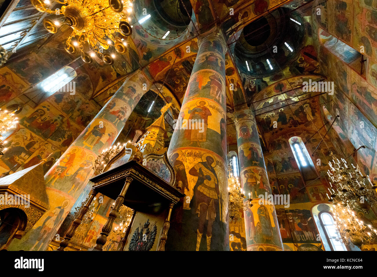Interior of Annunciation Cathedral, Kremlin, Moscow, Russian Federation - Stock Image