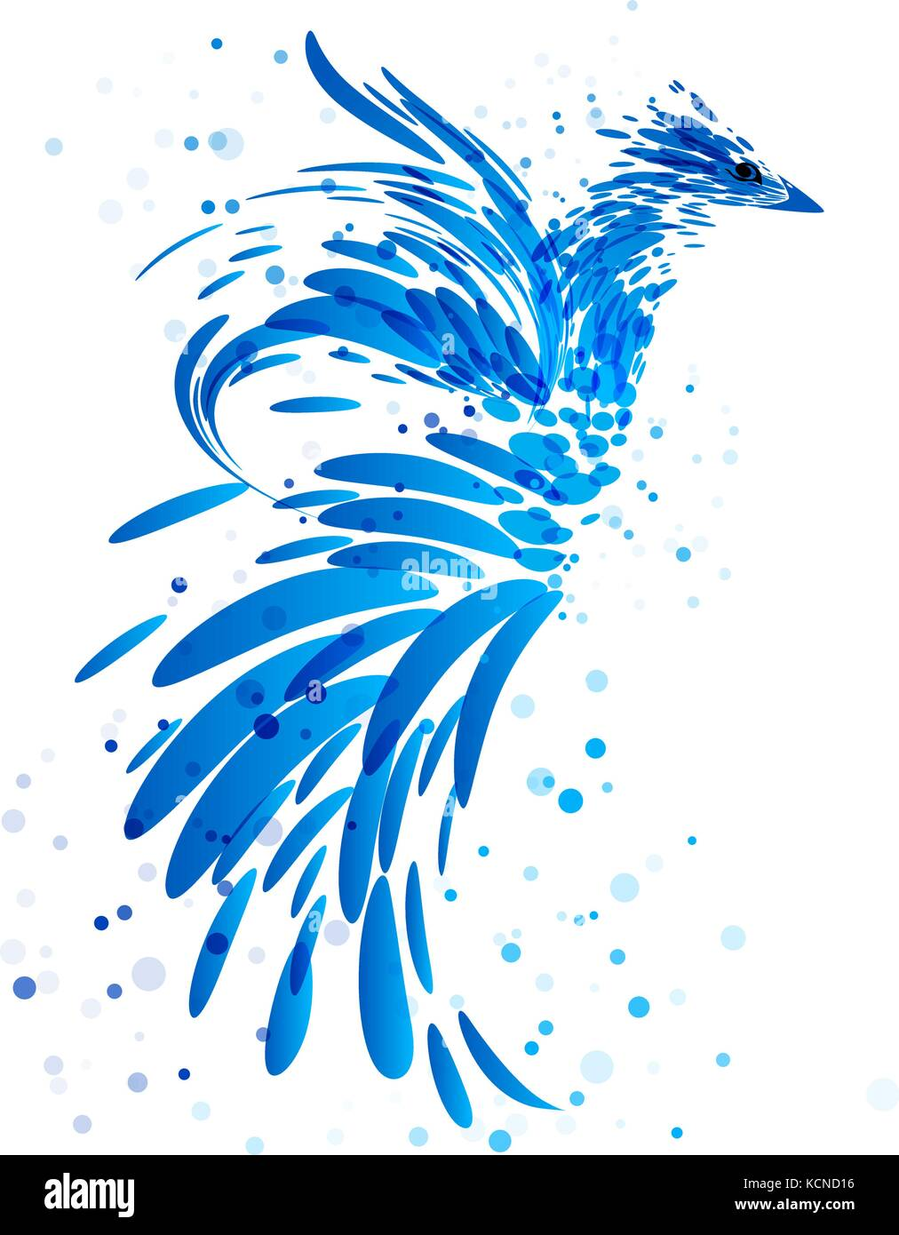Mythical blue bird on white background - Stock Vector