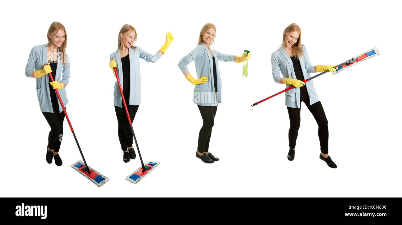Photos of young cleaning woman with mop. Isolated on white background Stock Photo