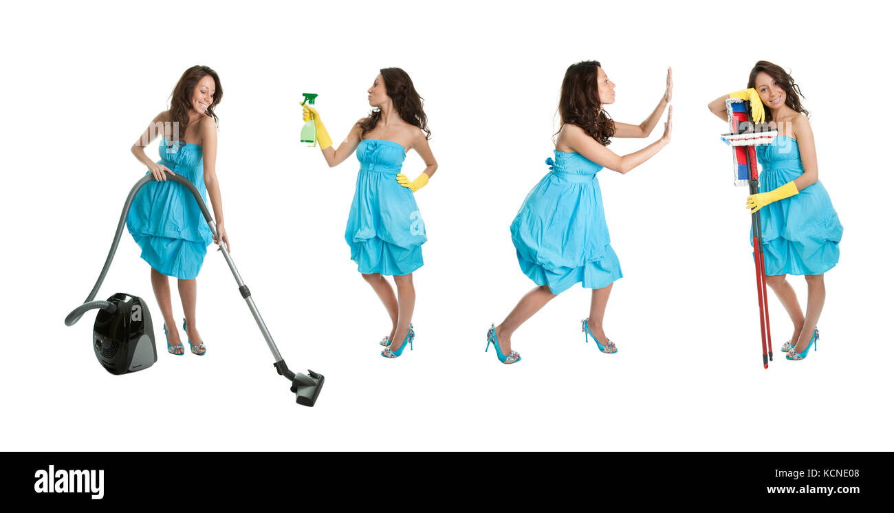 Photos of young cleaning woman with mop. Isolated on white background - Stock Image