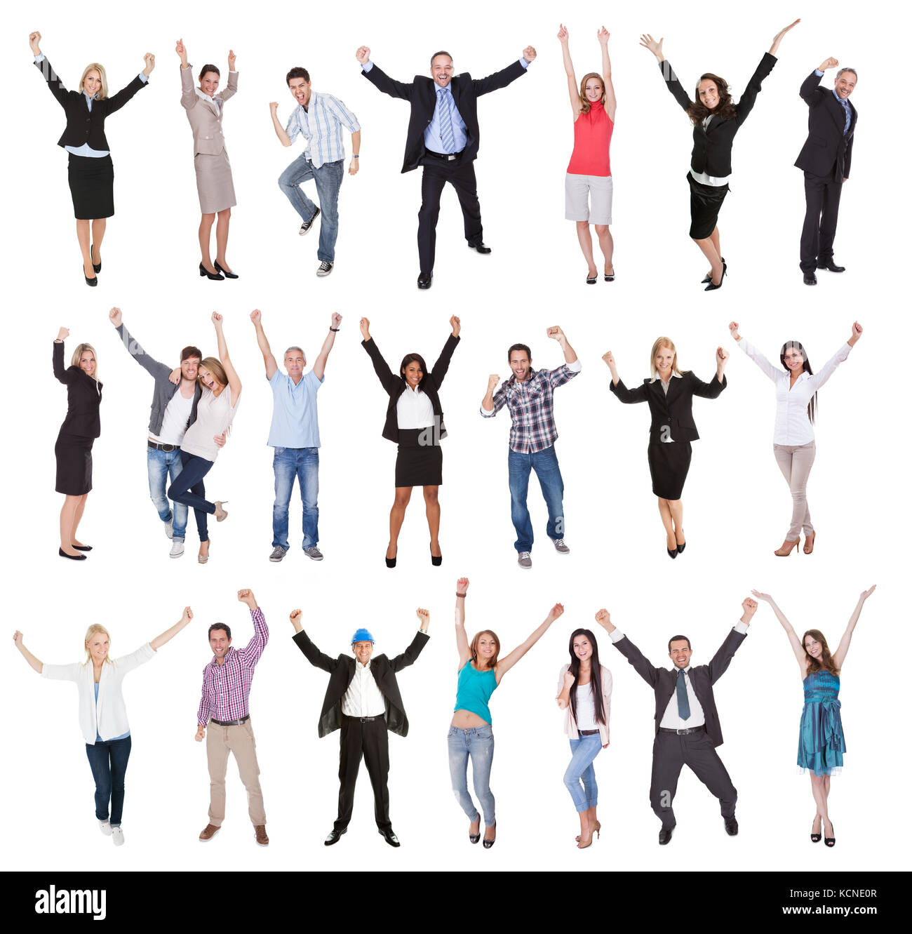 Photos of excited people cheering. Isolated on white background - Stock Image