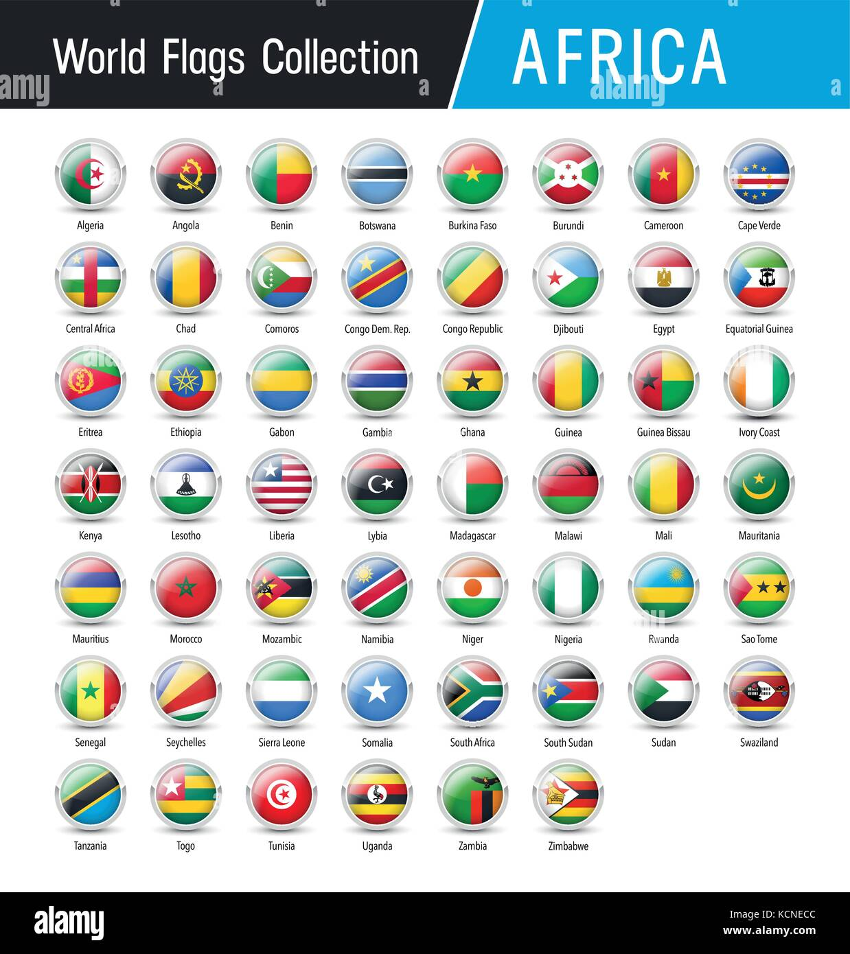 Flags of Africa, inside round icons - Vector world flags collection - Stock Image