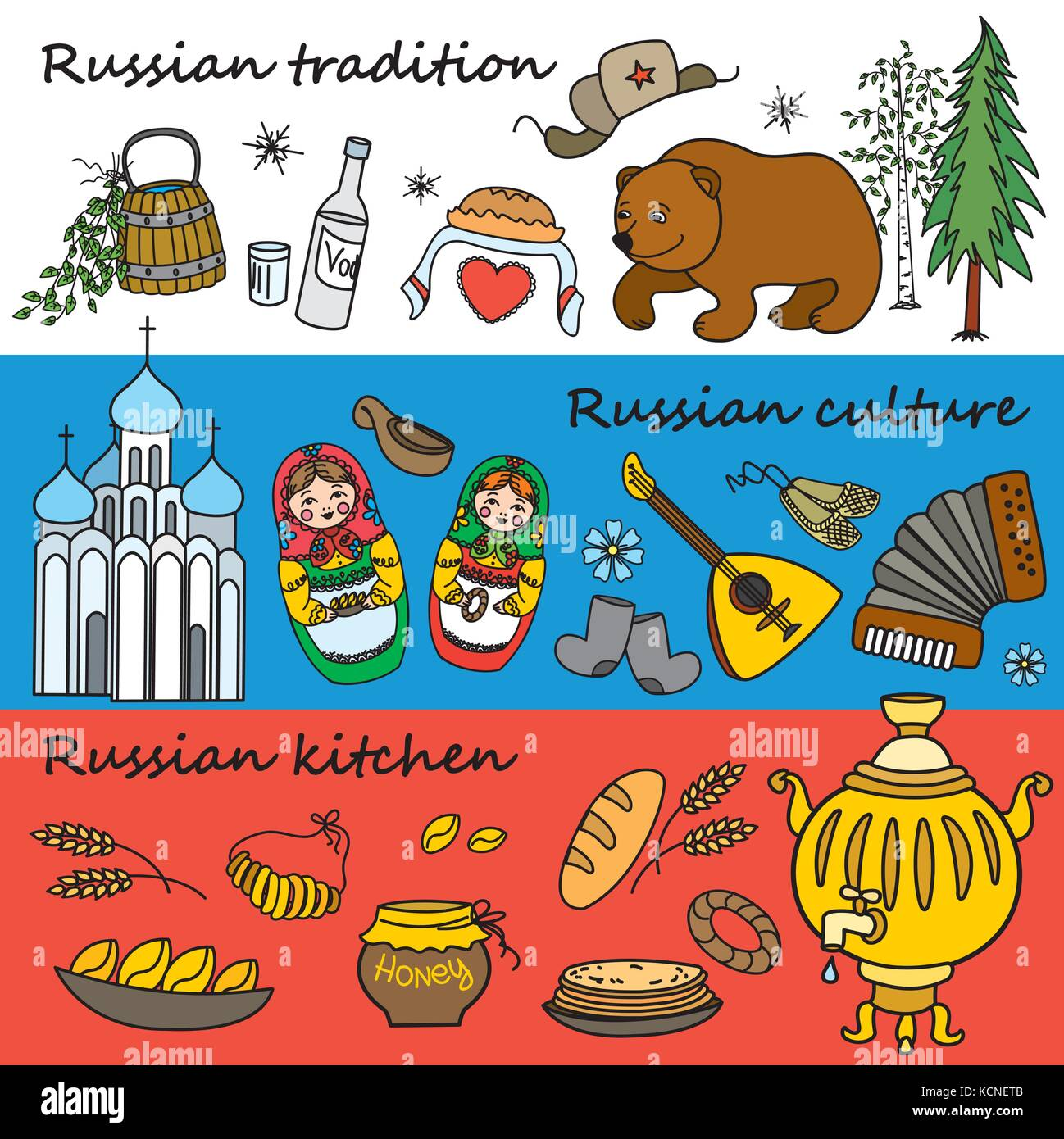 russian symbols travel russia russian traditions set of colorful flat style design icons vector illustration