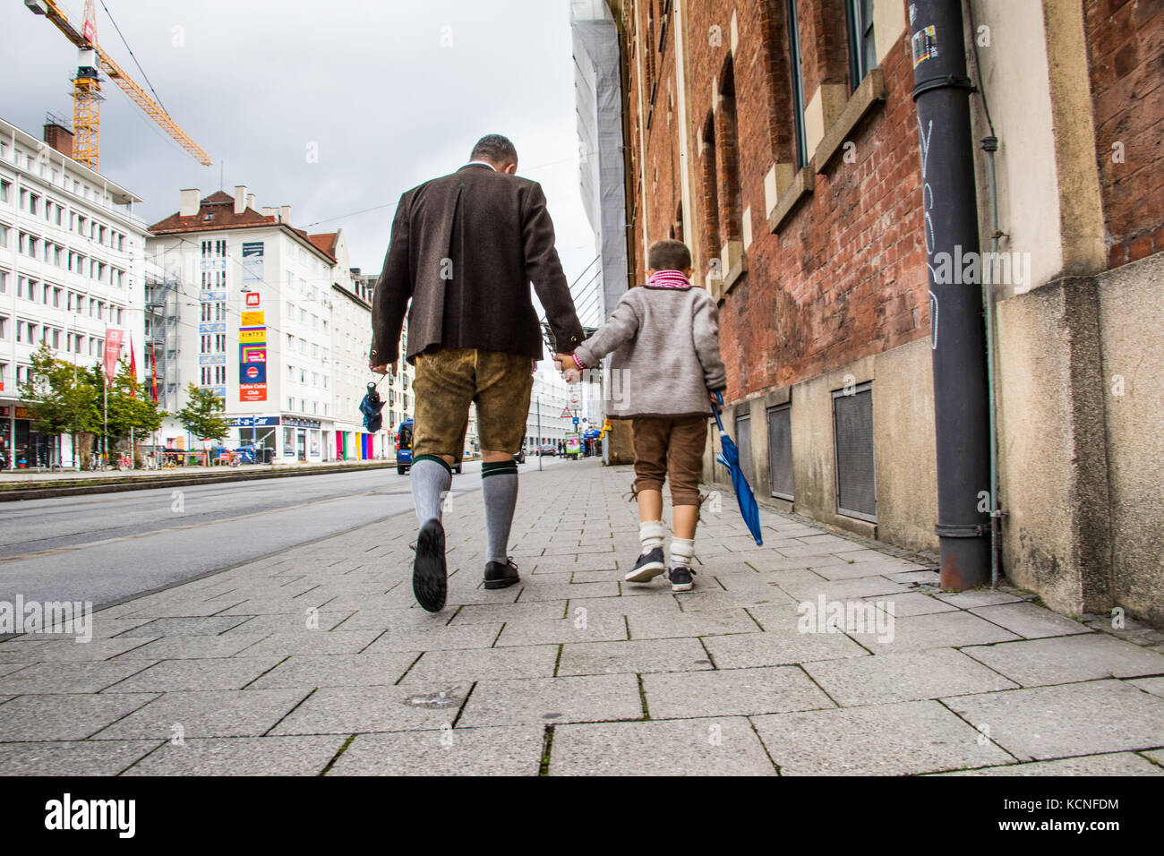 Father and son, Octoberfest, Munich, Germany - Stock Image