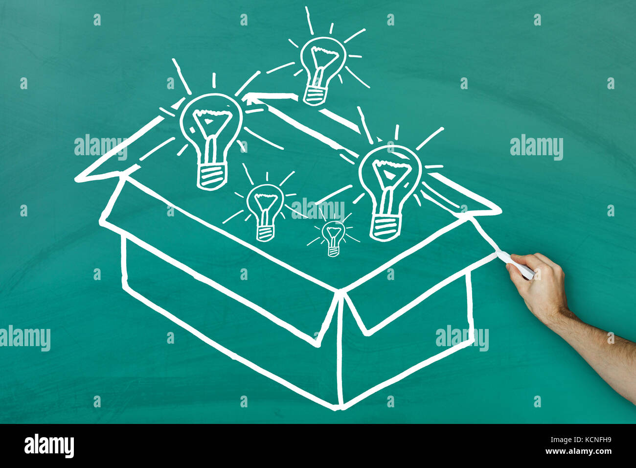 Ideas out of the box concept on green blackboard - Stock Image