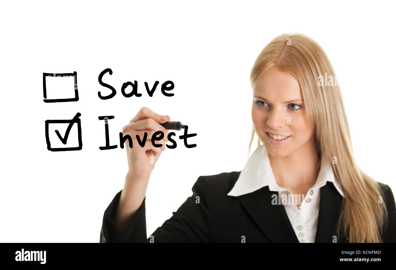 Invest instead of saving concept on white screen - Stock Image