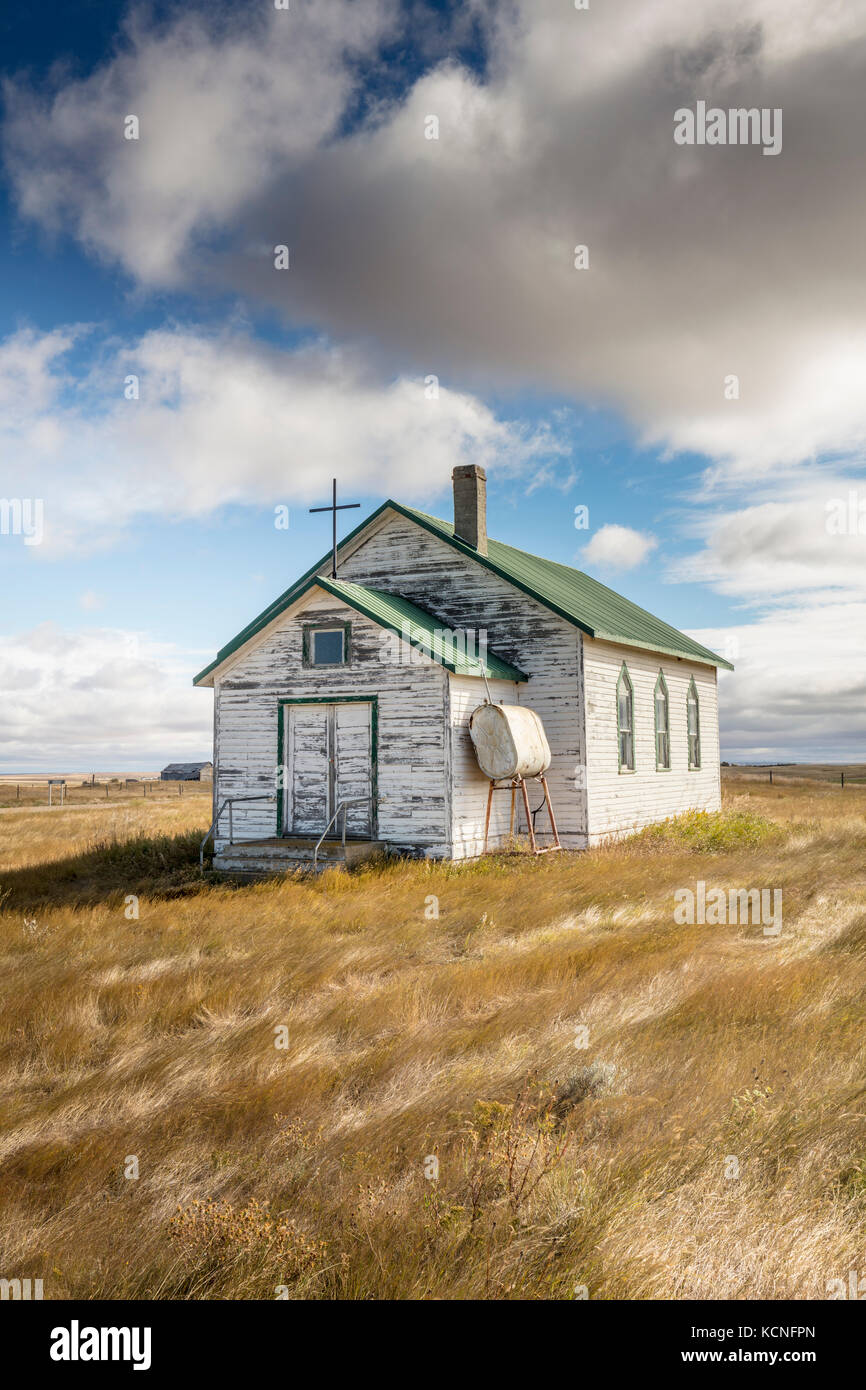 Old church in the Rural Municipality of Auvergne No. 76, Saskatchewan, Canada - Stock Image
