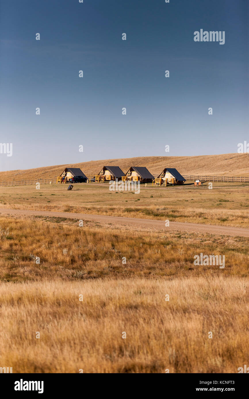 OTENTik tents can be rented in Grasslands National Park, Saskatchewan, Canada - Stock Image