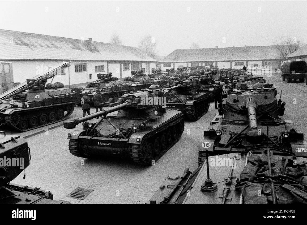 French cavalry leaves German barracks to take part to military manoeuvres, Offenburg, Germany - Stock Image