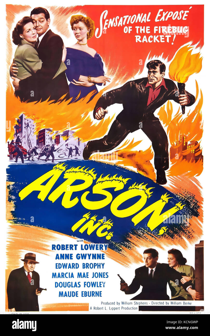 ARSON INC 1949 Lippert Pictures film - Stock Image