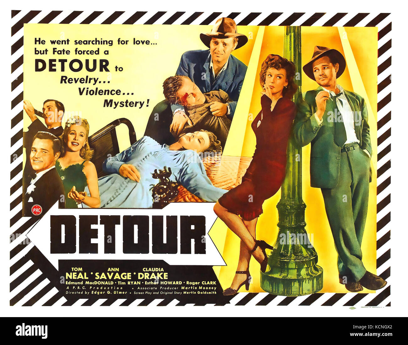 DETOUR 1945 PRC film with Tom Neal and Ann Savage - Stock Image
