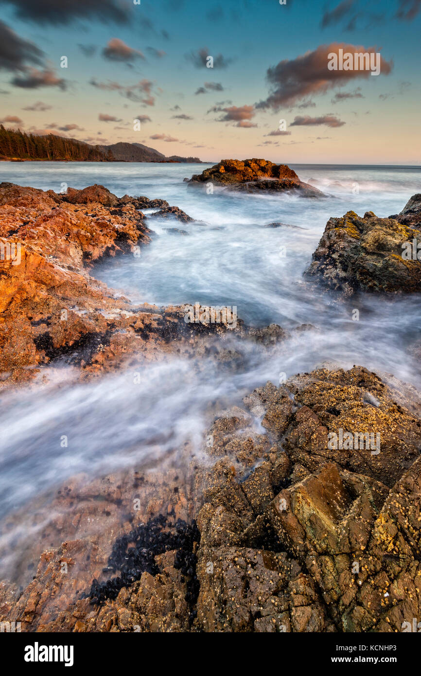 Wild West Coast of Northern Vancouver Island, Cape Scott, British Columbia, Canada. Waves crashing along coastline - Stock Image