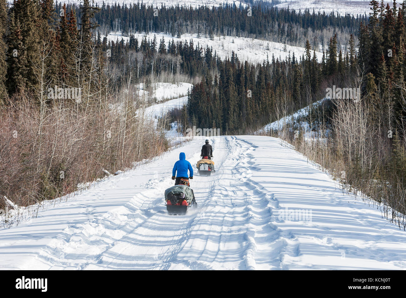 Two snowmobiliers make their way along the Canol Heritage Trail approximately 100 km North East of Ross River, Yukon - Stock Image