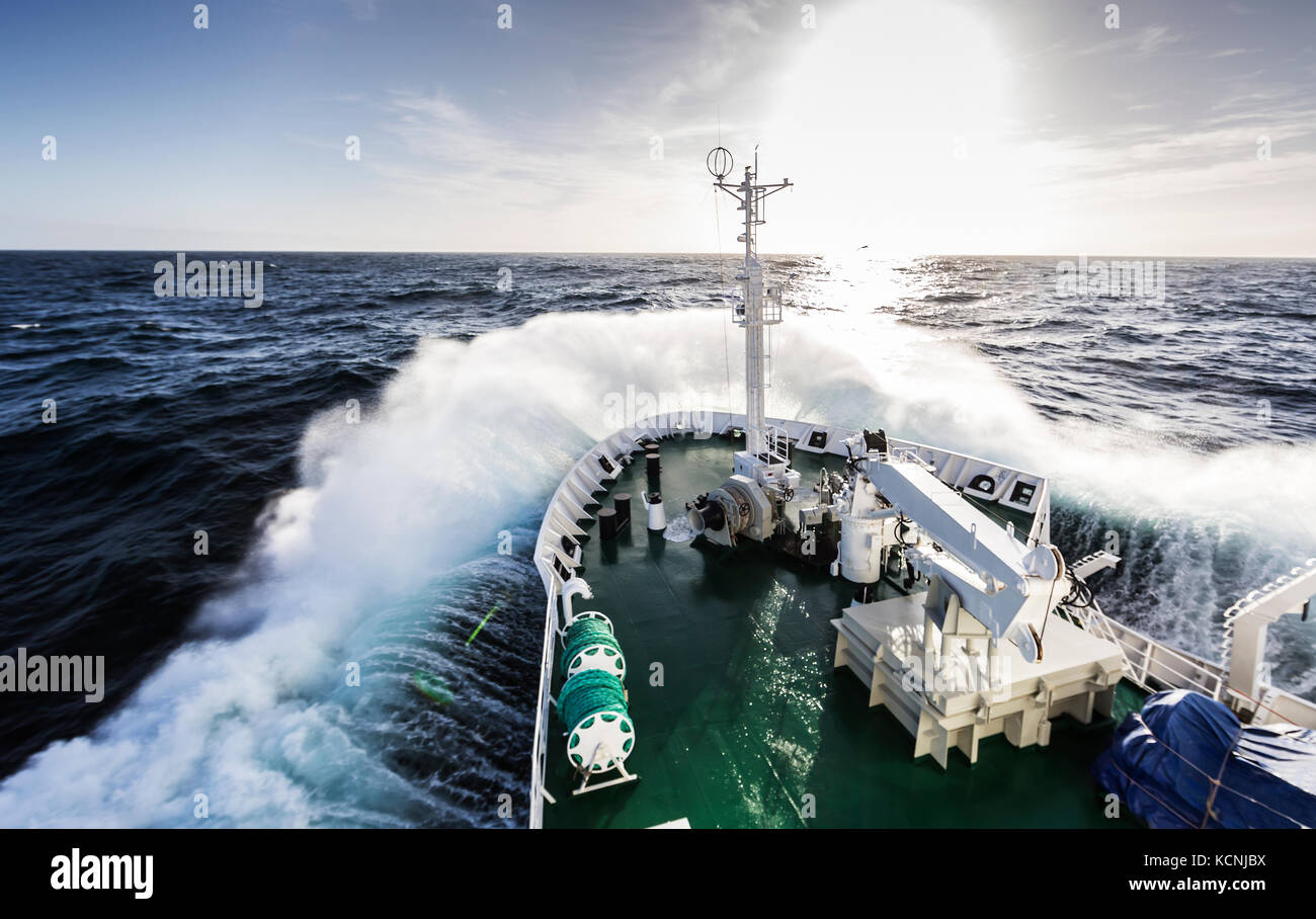 Akademic Vavilov encounters heavy seas south of Cape Horn while crossing the Drake Passage enroute to the Antarctic - Stock Image