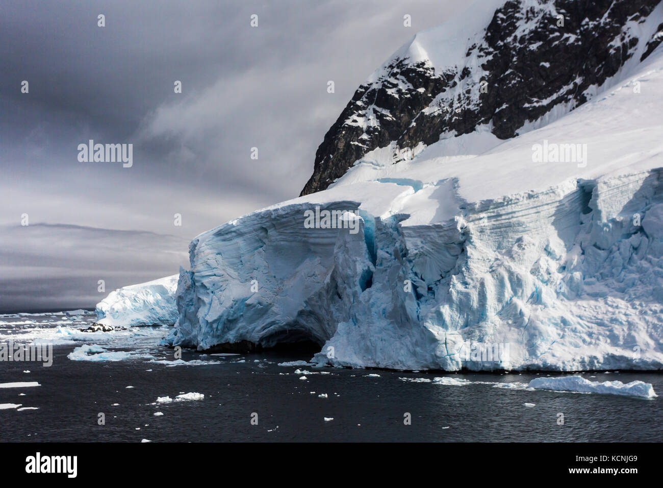 Glaciated ice slowly beaks off into water near Pleneau Island, Antarctic Peninsula, Antarctica - Stock Image