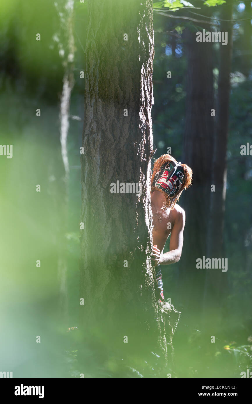Bukwis, wild man of the woods in first nations lore roams the woods of the Pacific Northwest, Comox, Vancouver Island, - Stock Image