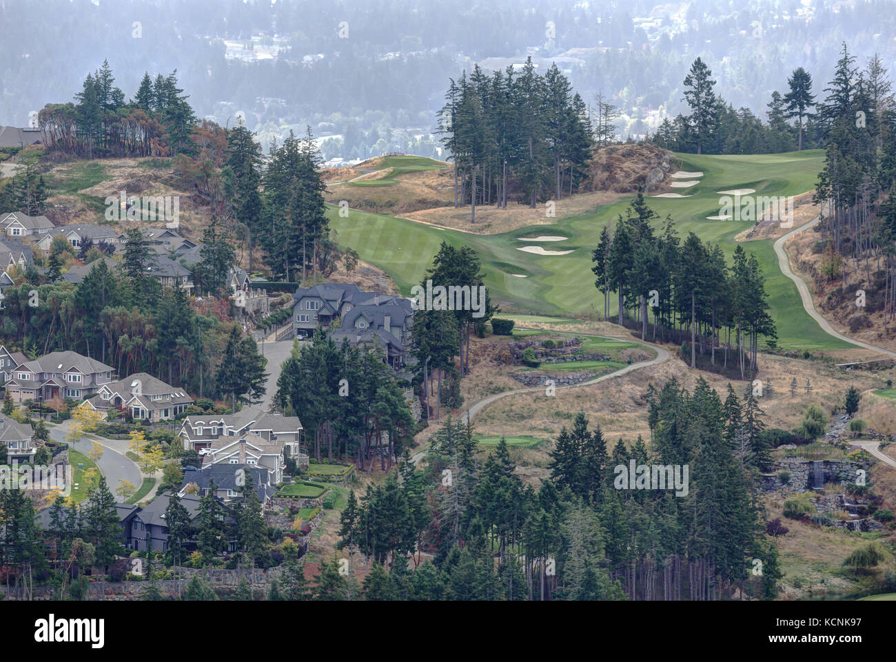 Scenic looking back to the Bear Mountain community from the summit of Mt. Finlayson, Victoria, Vancouver Island,British Stock Photo