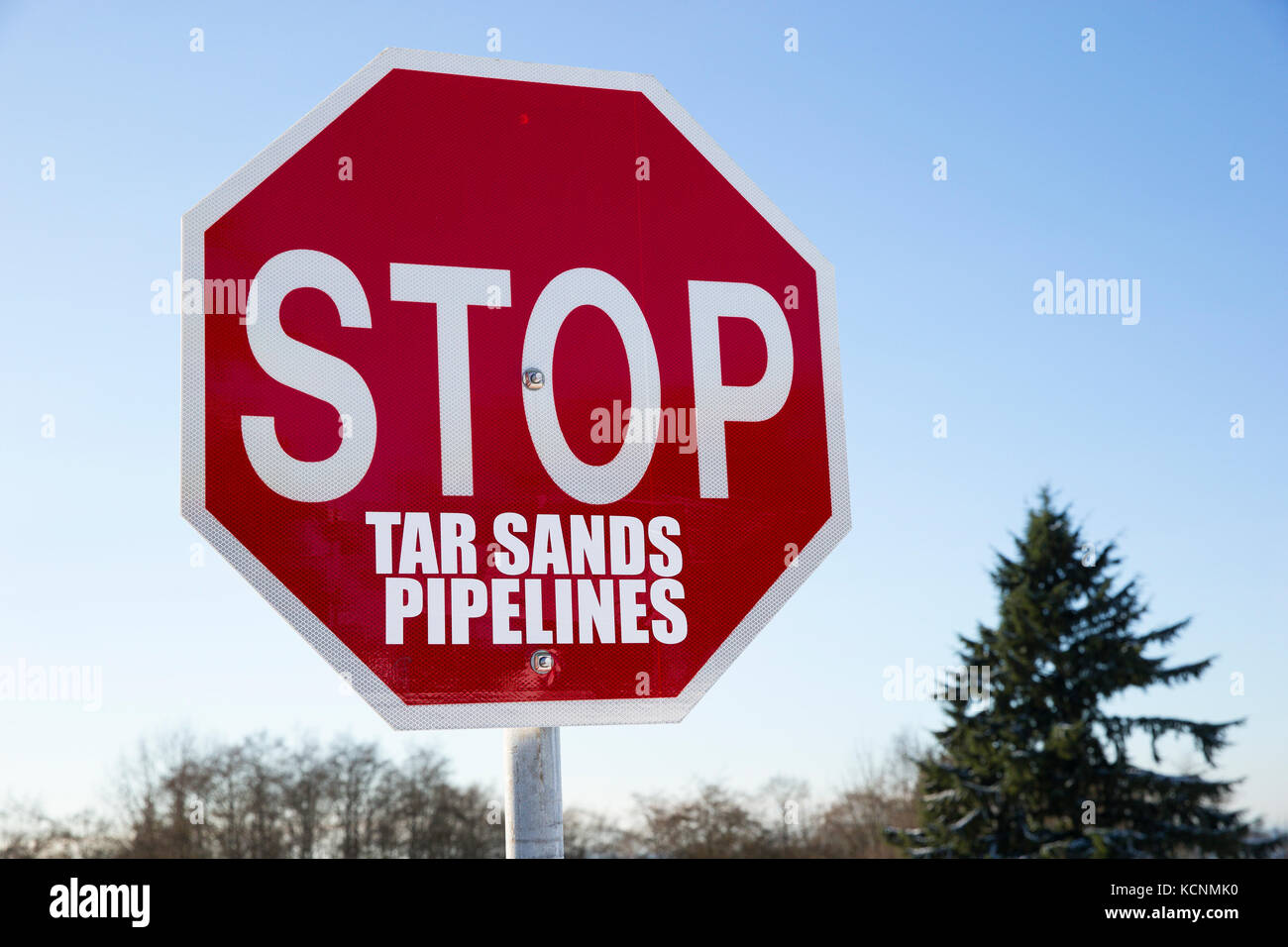 STOP sign modified to protest Kinder Morgan's proposed pipeline expansion project, Burnaby Mountain, British - Stock Image