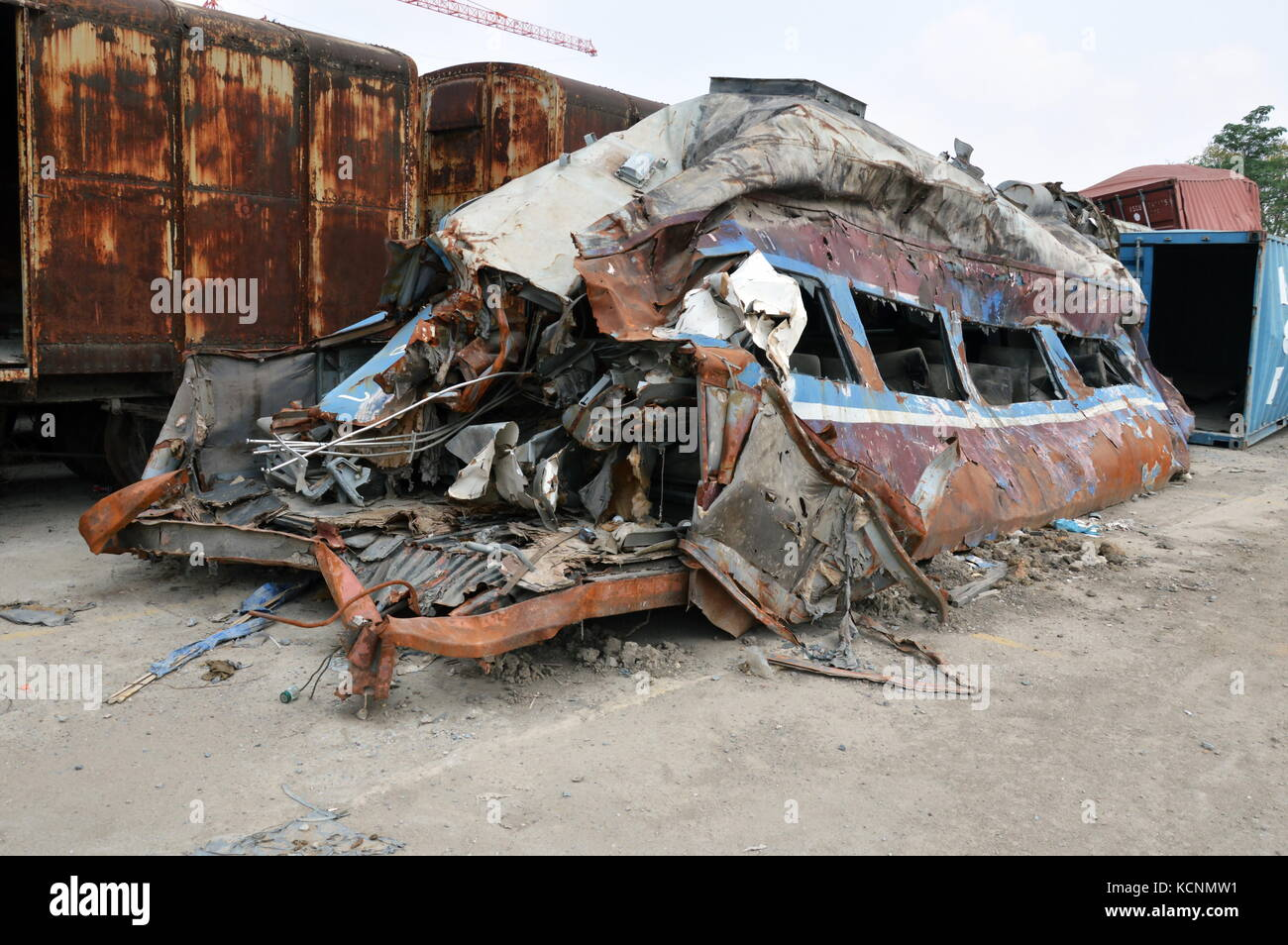 train crash by accident parking in junkyard - Stock Image