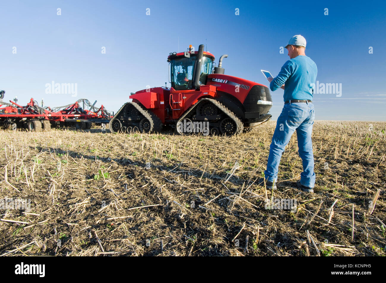 farmer using a tablet in front of a tractor and air seeder planting winter wheat in a zero till field containing - Stock Image