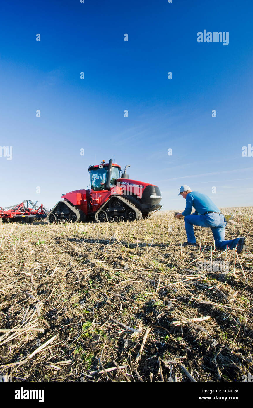 farmer in field /Quad-Trac tractor and air seeder planting winter wheat in a zero till field in the background, - Stock Image