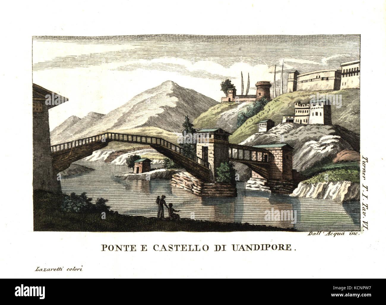 Castle and bridge in Wandipoor, Bhutan. Illustration by Lieutenant Samuel Davis from Captain Samuel Turner's Account - Stock Image