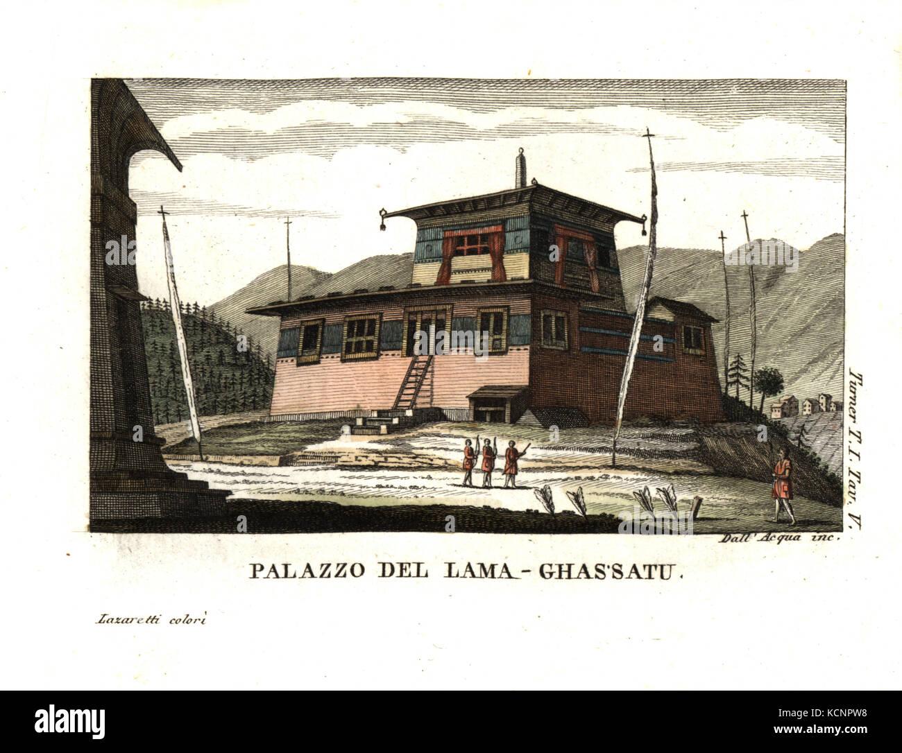 Residence of the Lam' Ghassatoo, Bhutan. Illustration by Lieutenant Samuel Davis from Captain Samuel Turner's - Stock Image