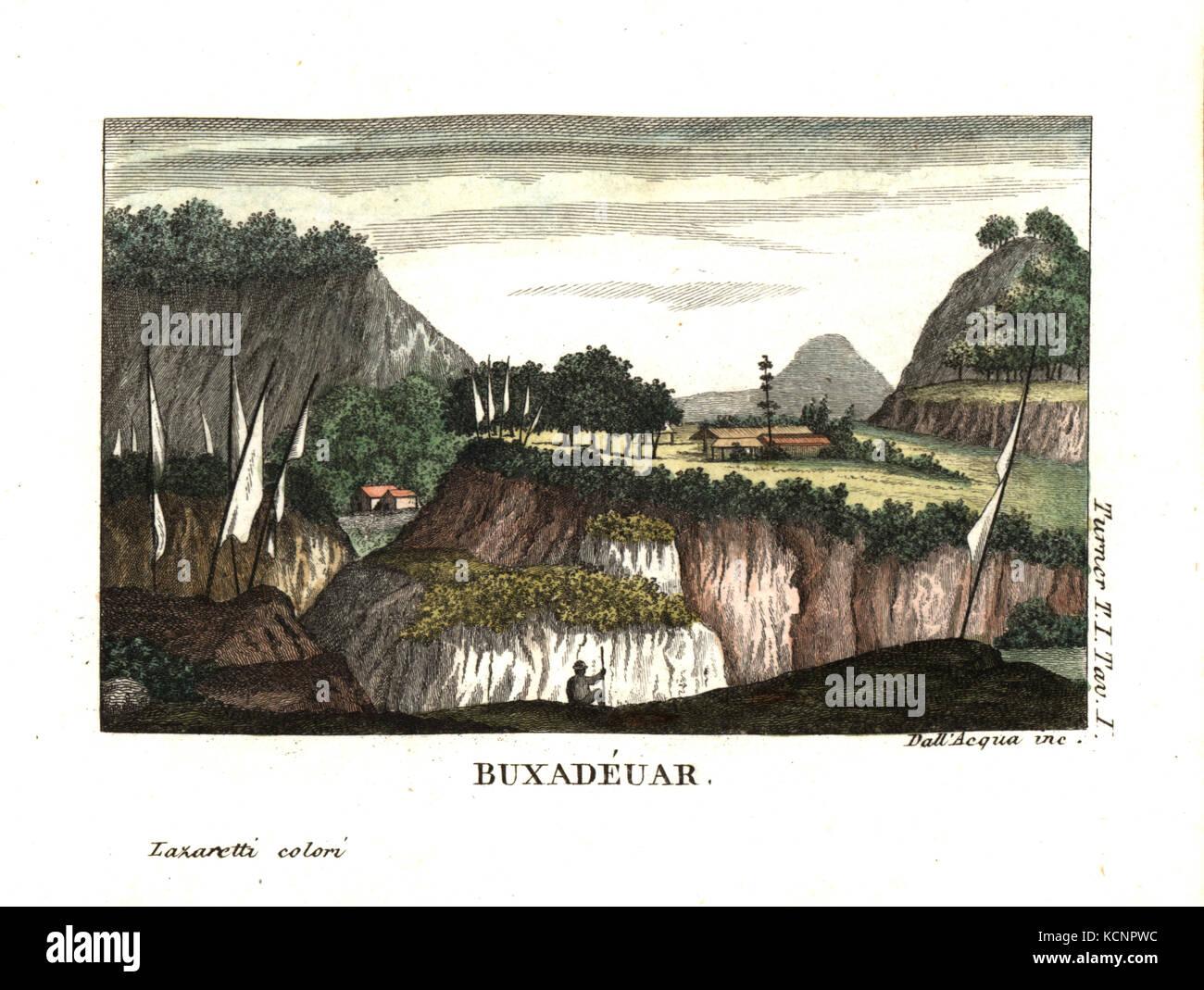 Buxa Duar, Bhutan. Illustration by Lieutenant Samuel Davis from Captain Samuel Turner's Account of an Embassy to - Stock Image