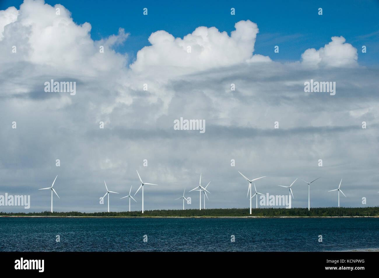 wind turbines along the Bay of Fundy near Pubnico, Nova Scotia - Stock Image