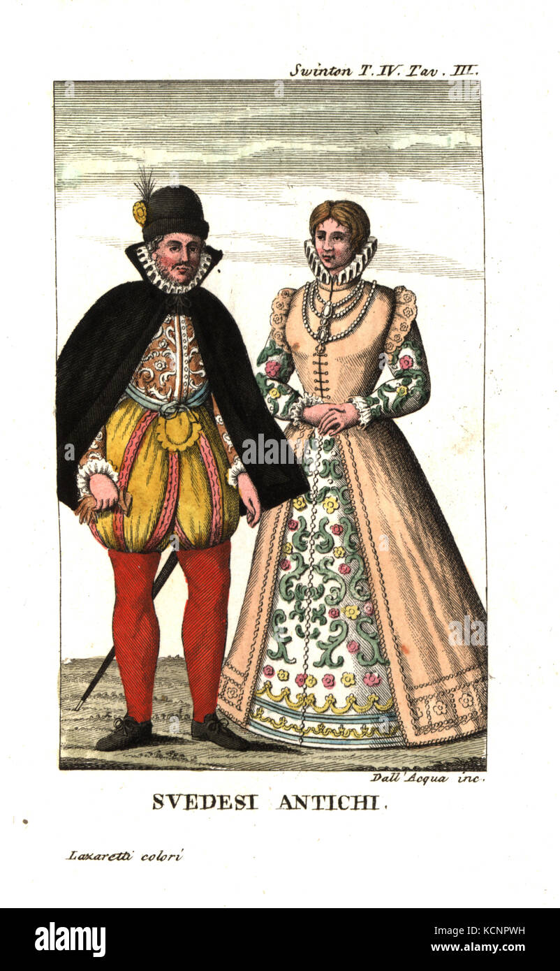 Costume of the Swedes in the 16th century. Illustration from Andrew Swinton's Travels into Norway, Denmark and Russia, - Stock Image